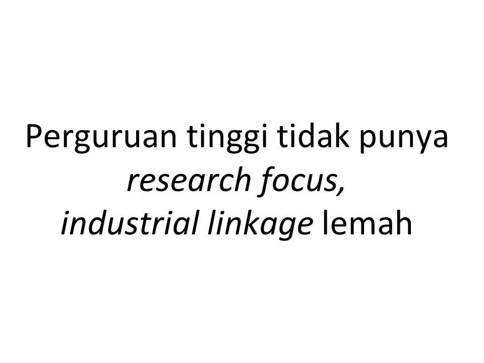 Perguruan tinggi tidak punya research focus, industrial linkage lemah