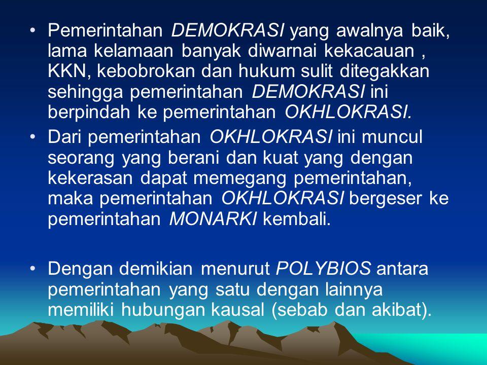 Pemerintahan DEMOKRASI yang awalnya baik, lama kelamaan banyak diwarnai kekacauan , KKN, kebobrokan dan hukum sulit ditegakkan sehingga pemerintahan DEMOKRASI ini berpindah ke pemerintahan OKHLOKRASI.