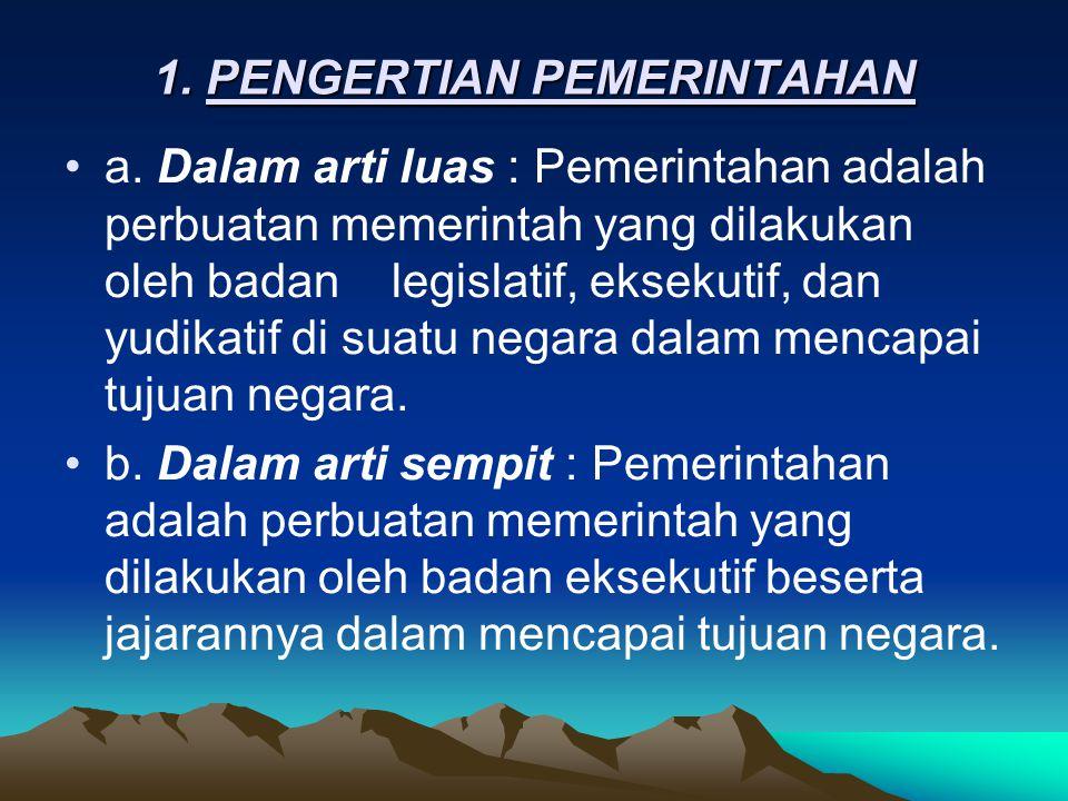 1. PENGERTIAN PEMERINTAHAN