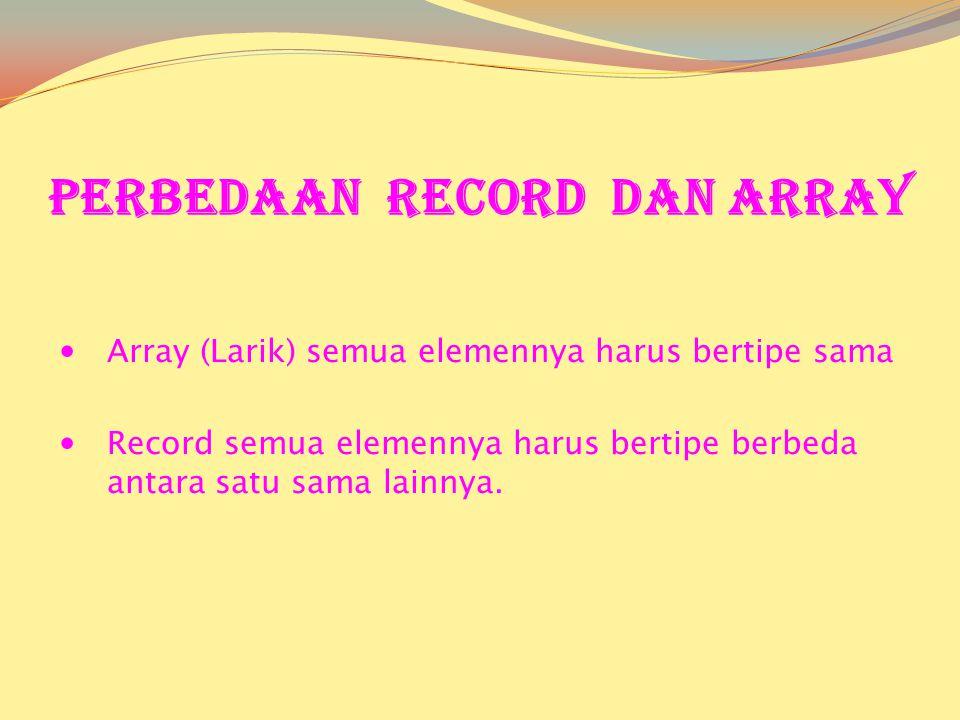 Perbedaan Record dan Array