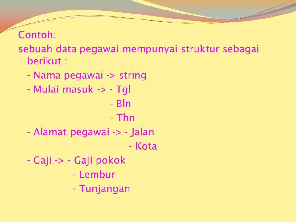 Contoh: sebuah data pegawai mempunyai struktur sebagai berikut : - Nama pegawai -> string - Mulai masuk -> - Tgl - Bln - Thn - Alamat pegawai -> - Jalan - Kota - Gaji -> - Gaji pokok - Lembur - Tunjangan