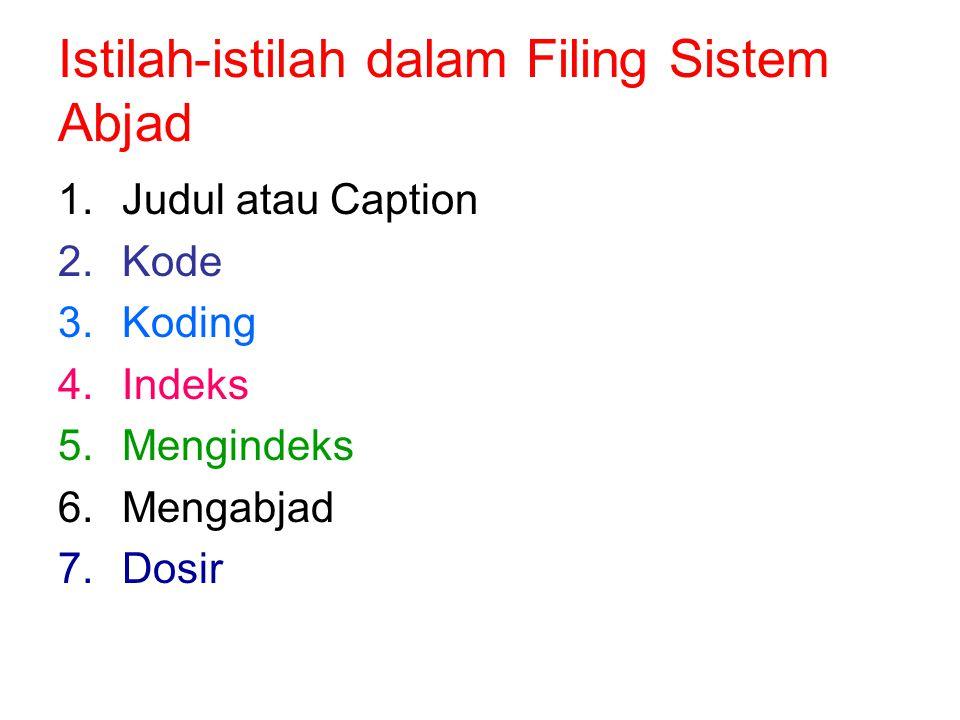 Istilah-istilah dalam Filing Sistem Abjad