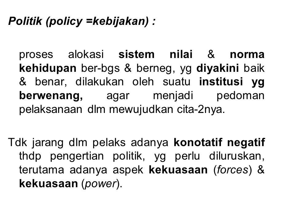 Politik (policy =kebijakan) :