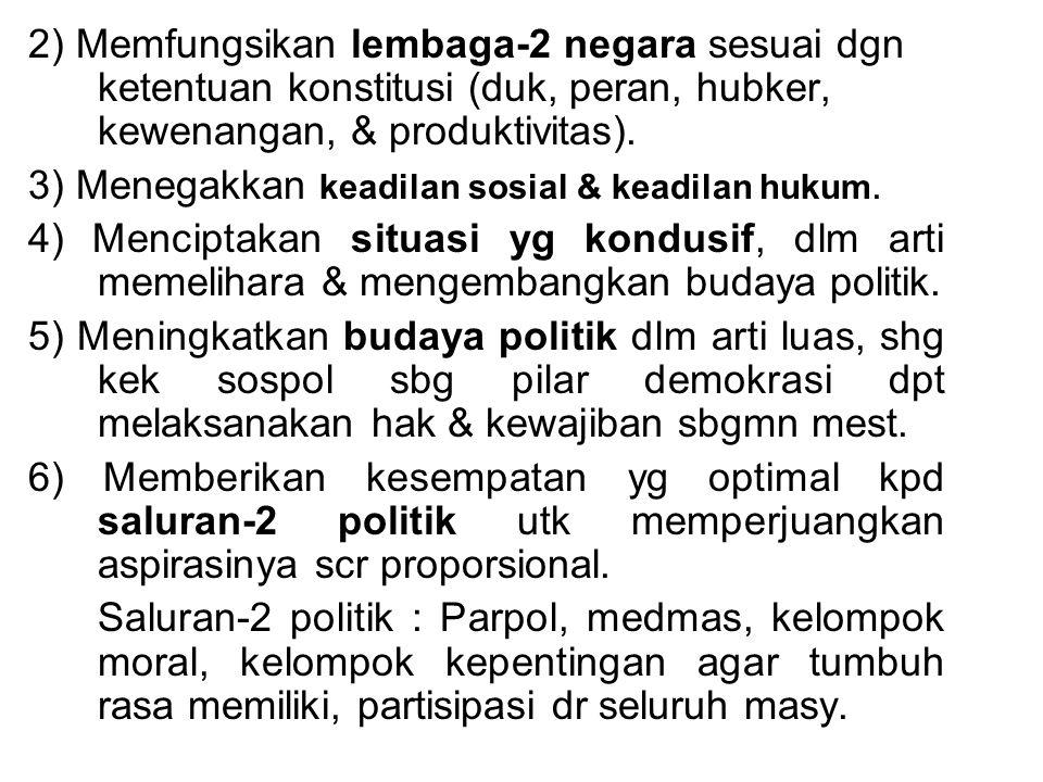 2) Memfungsikan lembaga-2 negara sesuai dgn ketentuan konstitusi (duk, peran, hubker, kewenangan, & produktivitas).