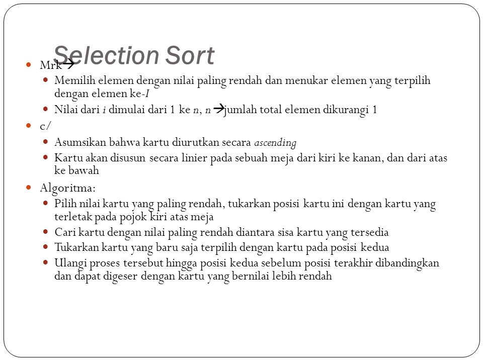 Selection Sort Mrk c/ Algoritma:
