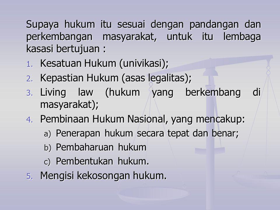 Kesatuan Hukum (univikasi); Kepastian Hukum (asas legalitas);