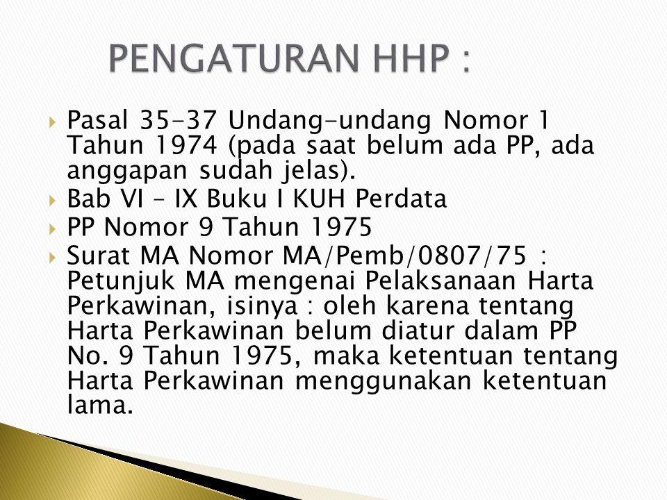 PENGATURAN HHP : Pasal 35-37 Undang-undang Nomor 1 Tahun 1974 (pada saat belum ada PP, ada anggapan sudah jelas).