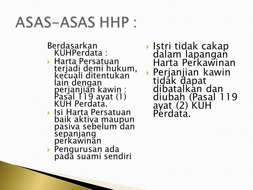 ASAS-ASAS HHP : Istri tidak cakap dalam lapangan Harta Perkawinan