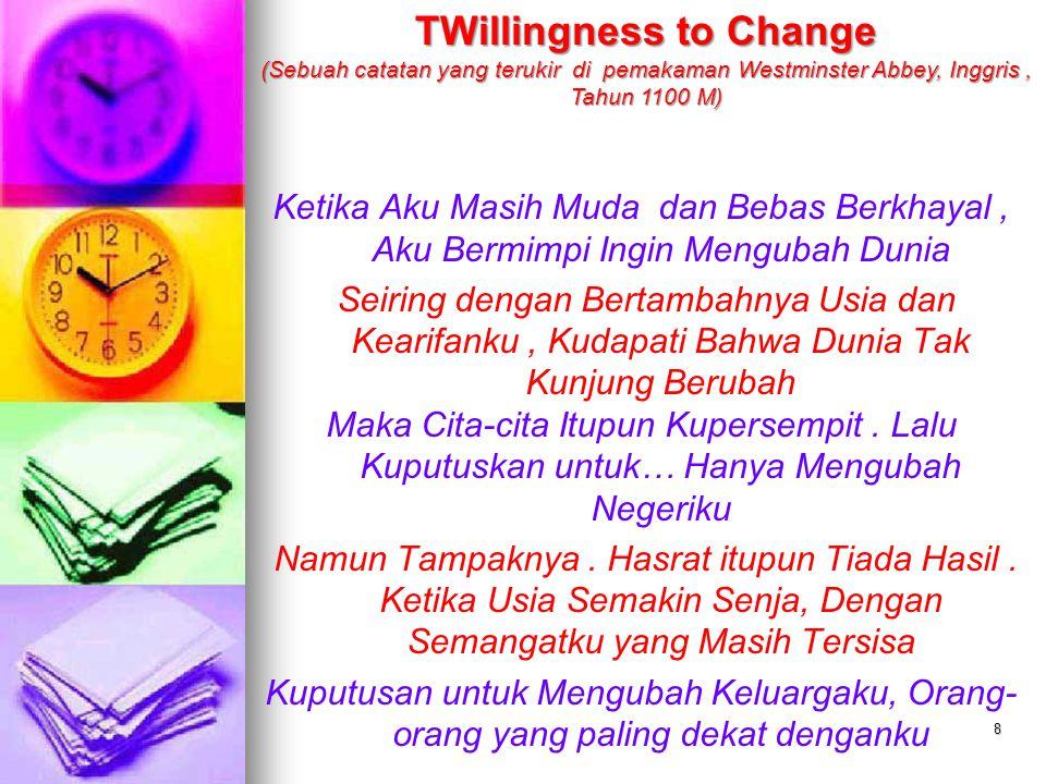 TWillingness to Change (Sebuah catatan yang terukir di pemakaman Westminster Abbey, Inggris , Tahun 1100 M)