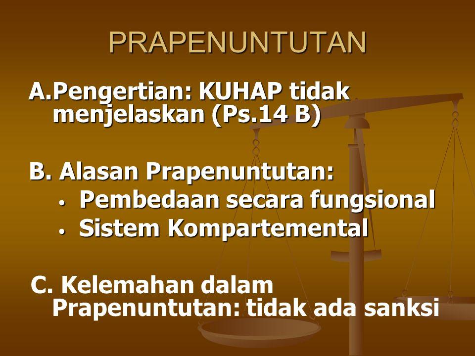 PRAPENUNTUTAN A.Pengertian: KUHAP tidak menjelaskan (Ps.14 B)