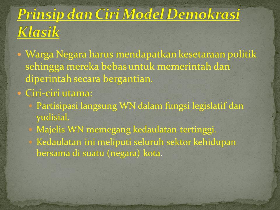 Prinsip dan Ciri Model Demokrasi Klasik