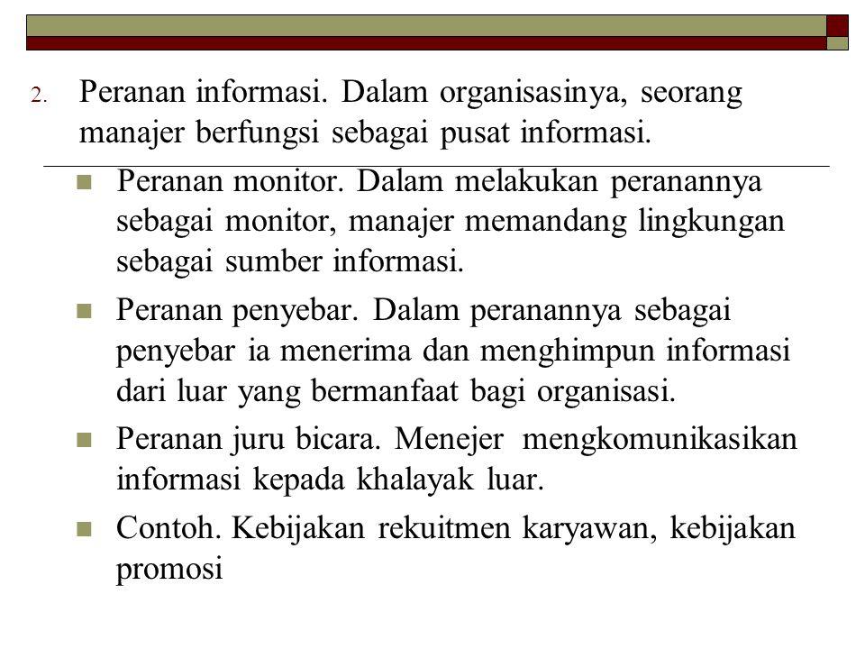Peranan informasi. Dalam organisasinya, seorang manajer berfungsi sebagai pusat informasi.