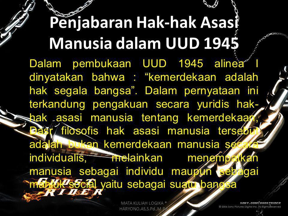 Penjabaran Hak-hak Asasi Manusia dalam UUD 1945