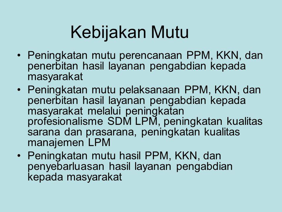 Kebijakan Mutu Peningkatan mutu perencanaan PPM, KKN, dan penerbitan hasil layanan pengabdian kepada masyarakat.