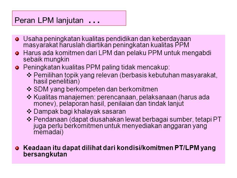 Peran LPM lanjutan … Usaha peningkatan kualitas pendidikan dan keberdayaan masyarakat haruslah diartikan peningkatan kualitas PPM.