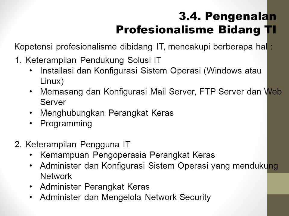 3.4. Pengenalan Profesionalisme Bidang TI