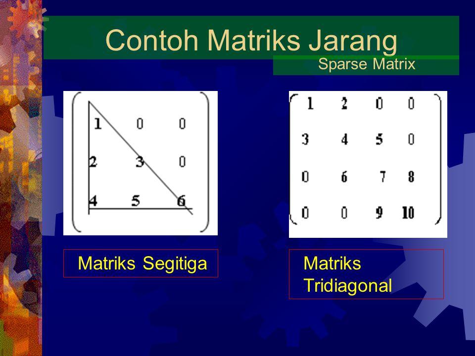 Contoh Matriks Jarang Matriks Segitiga Matriks Tridiagonal