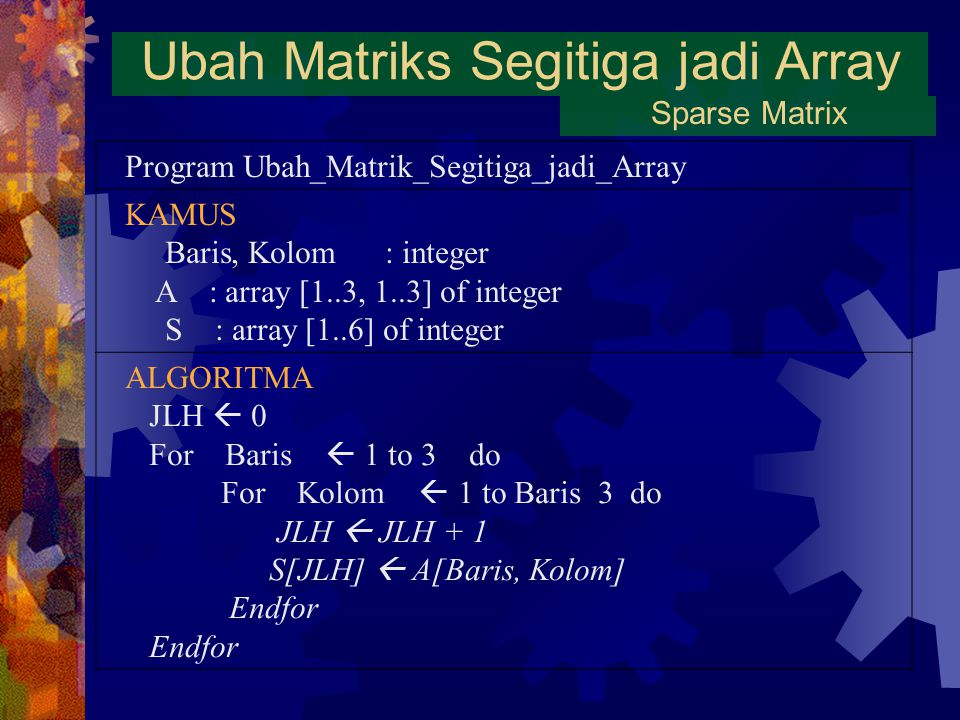 Ubah Matriks Segitiga jadi Array