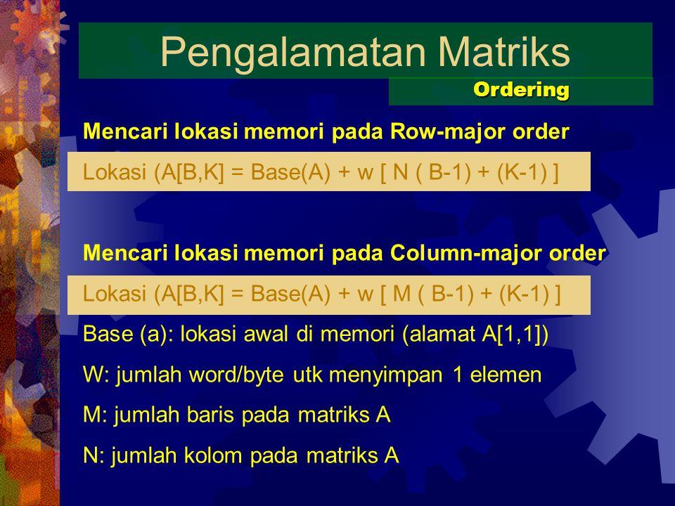 Pengalamatan Matriks Mencari lokasi memori pada Row-major order