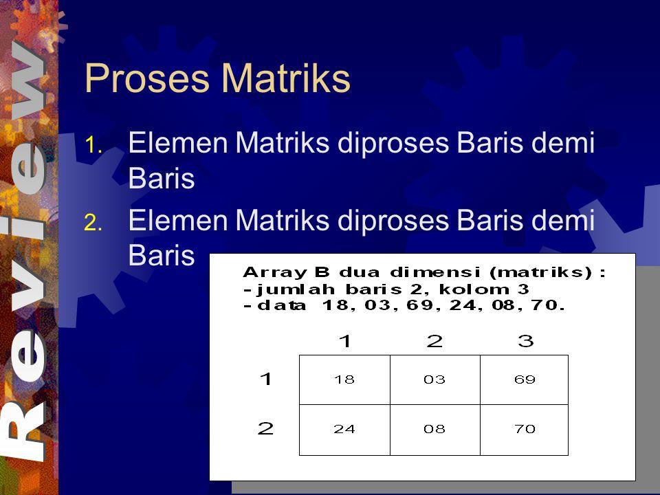 Proses Matriks Elemen Matriks diproses Baris demi Baris Review