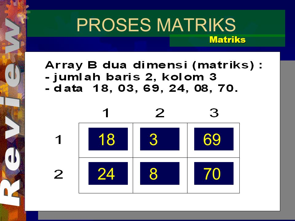 PROSES MATRIKS Matriks Review 18 3 69 24 8 70
