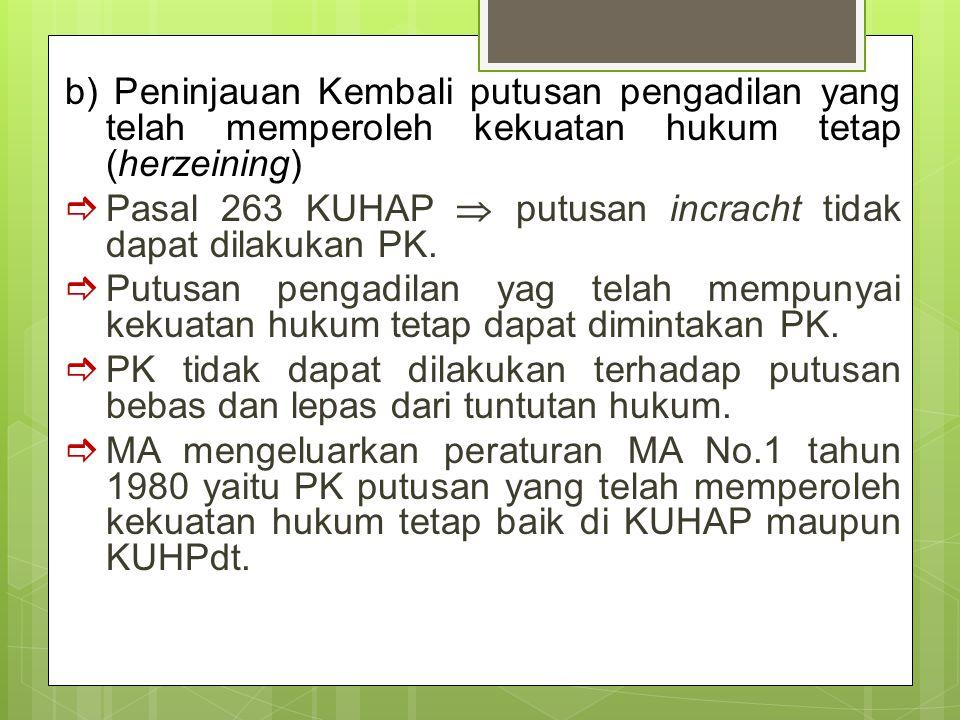 b) Peninjauan Kembali putusan pengadilan yang telah memperoleh kekuatan hukum tetap (herzeining)