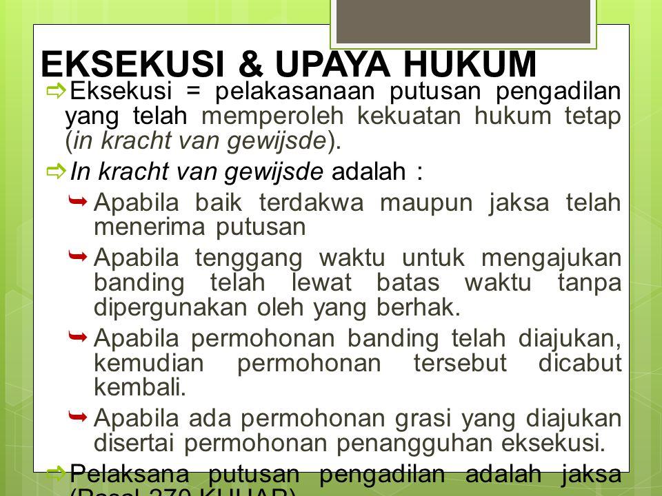EKSEKUSI & UPAYA HUKUM Eksekusi = pelakasanaan putusan pengadilan yang telah memperoleh kekuatan hukum tetap (in kracht van gewijsde).