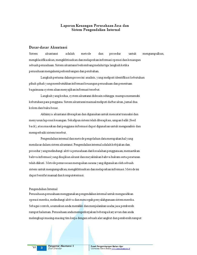 Laporan Keuangan Perusahaan Jasa dan