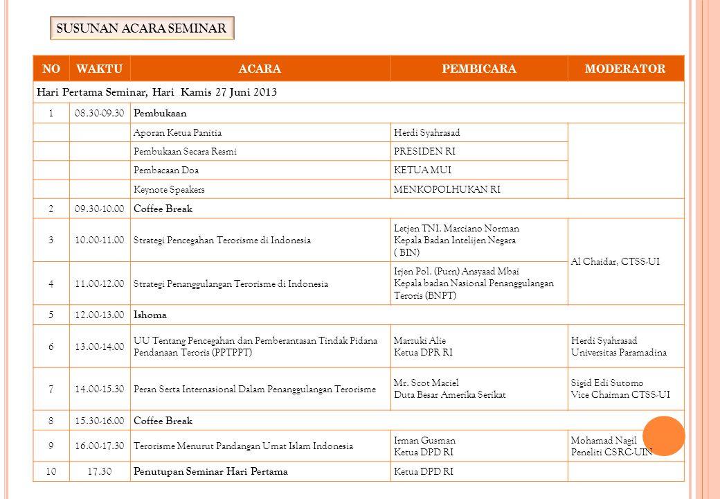 SUSUNAN ACARA SEMINAR Hari Pertama Seminar, Hari Kamis 27 Juni 2013 NO