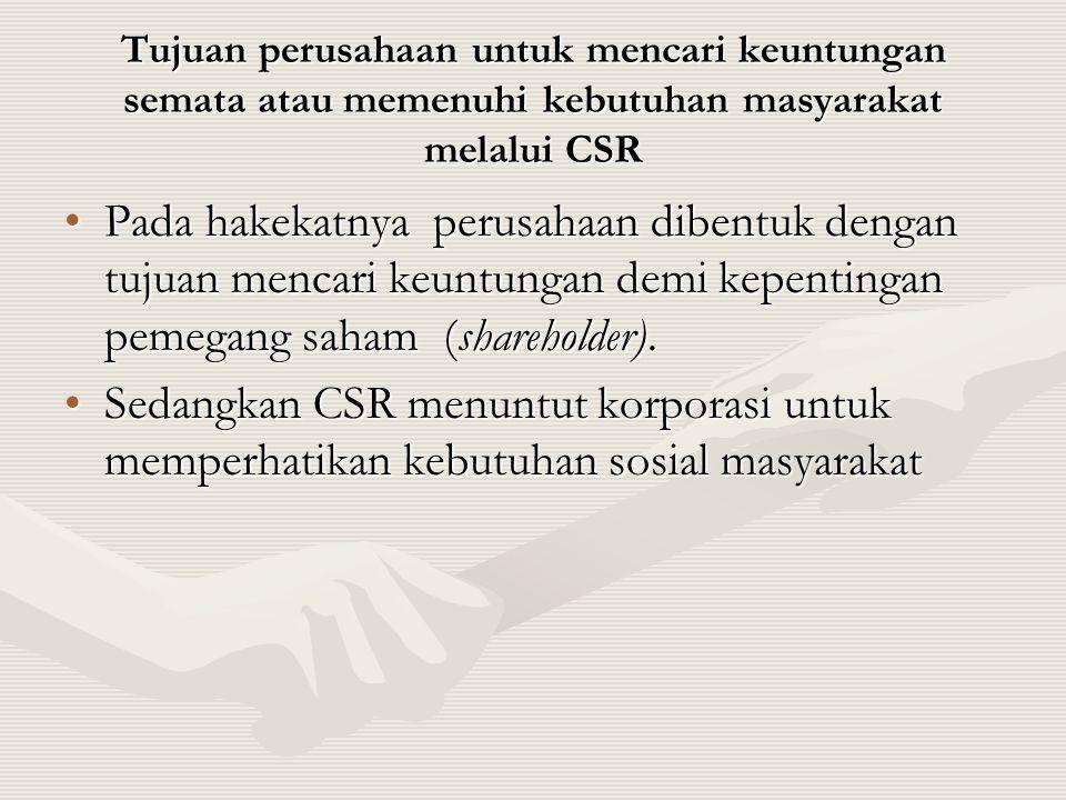 Tujuan perusahaan untuk mencari keuntungan semata atau memenuhi kebutuhan masyarakat melalui CSR