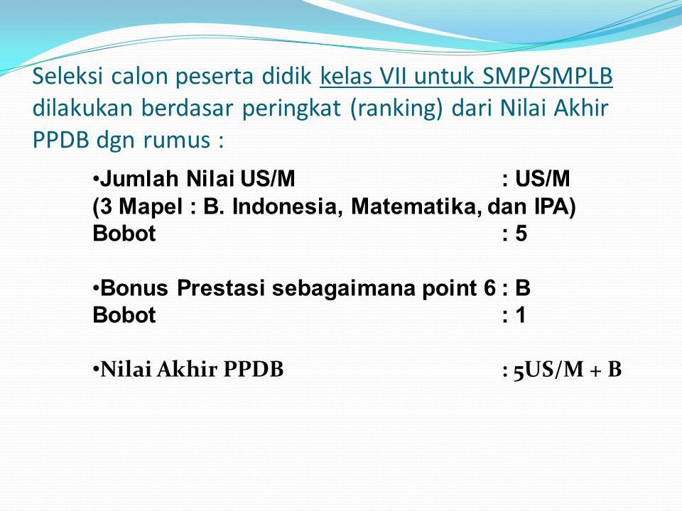 Seleksi calon peserta didik kelas VII untuk SMP/SMPLB dilakukan berdasar peringkat (ranking) dari Nilai Akhir PPDB dgn rumus :