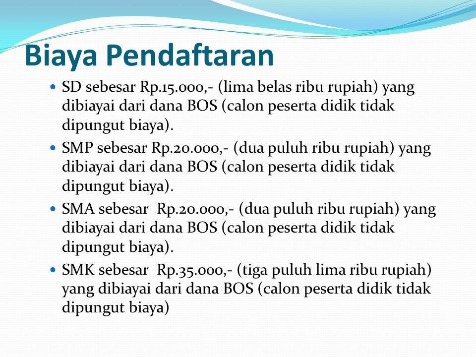 Biaya Pendaftaran SD sebesar Rp.15.000,- (lima belas ribu rupiah) yang dibiayai dari dana BOS (calon peserta didik tidak dipungut biaya).