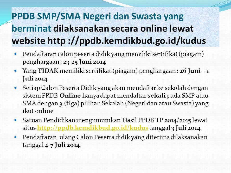 PPDB SMP/SMA Negeri dan Swasta yang berminat dilaksanakan secara online lewat website http ://ppdb.kemdikbud.go.id/kudus