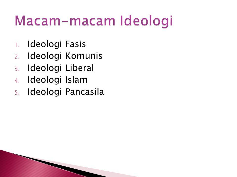 Macam-macam Ideologi Ideologi Fasis Ideologi Komunis Ideologi Liberal