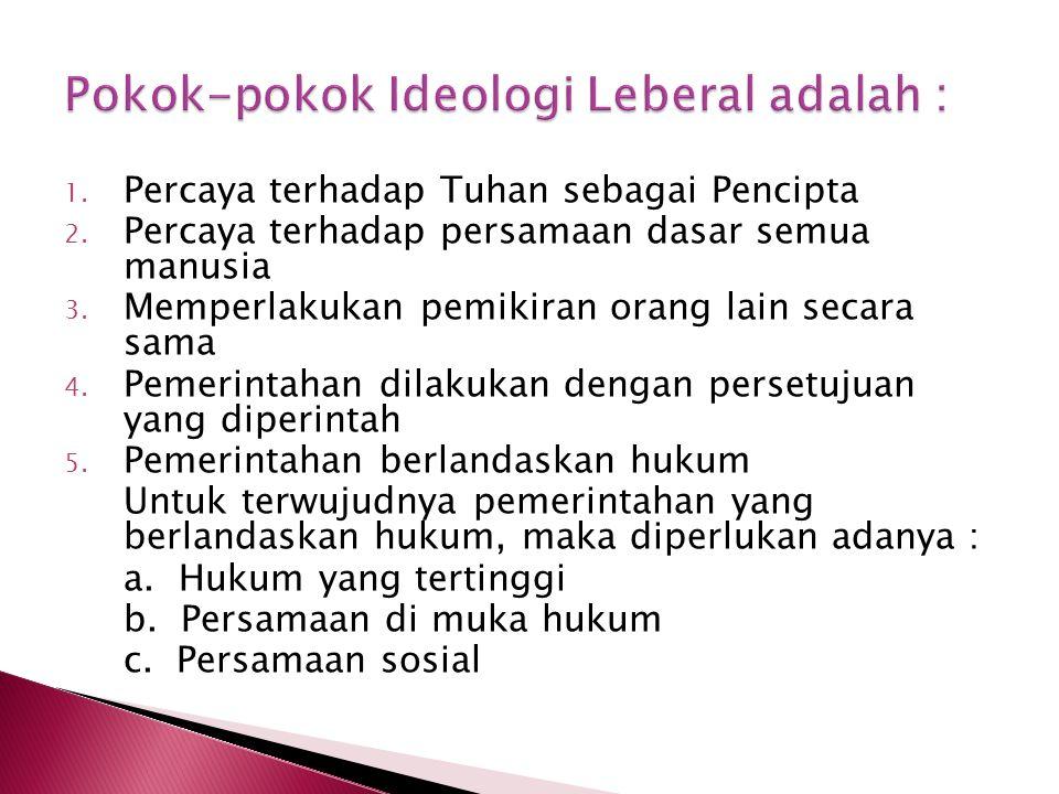 Pokok-pokok Ideologi Leberal adalah :