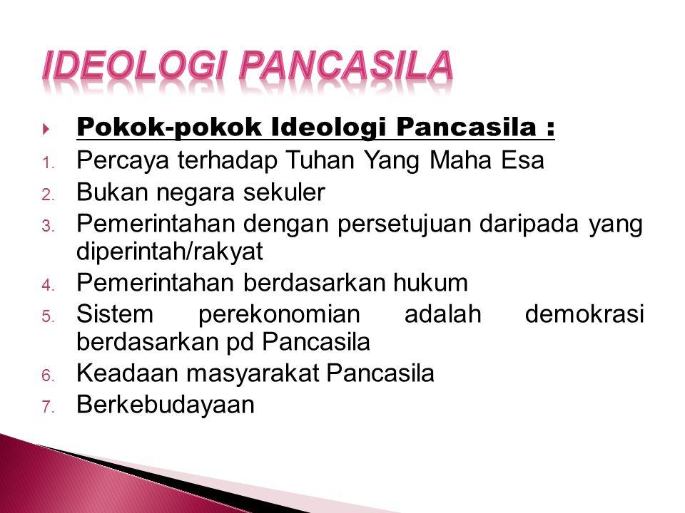 Ideologi Pancasila Pokok-pokok Ideologi Pancasila :