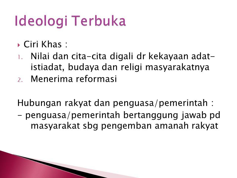 Ideologi Terbuka Ciri Khas :