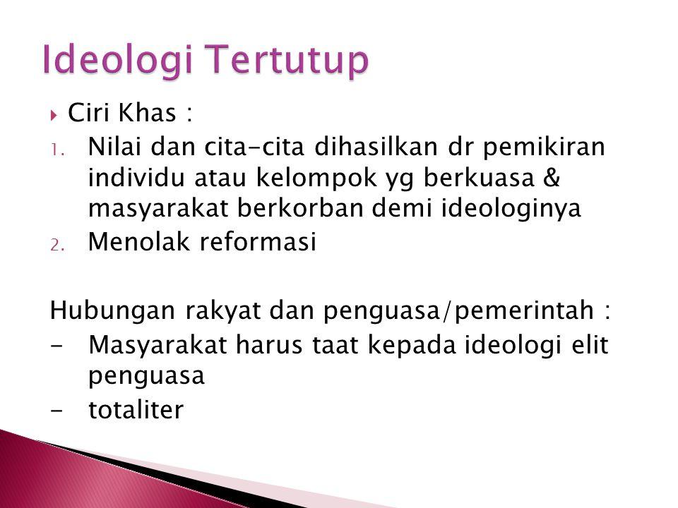 Ideologi Tertutup Ciri Khas :