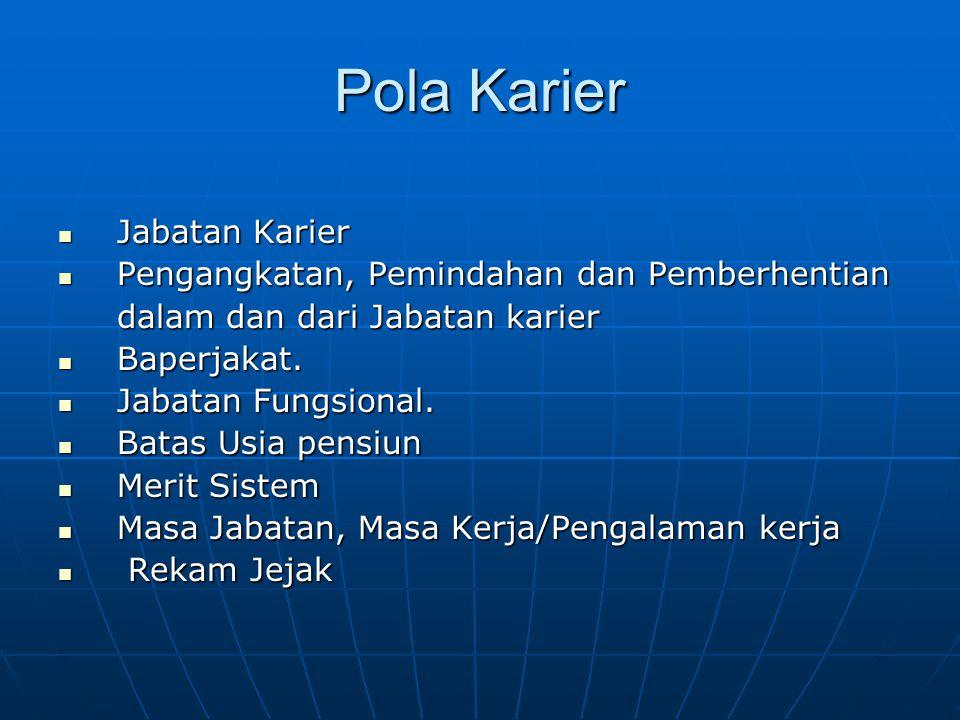 Pola Karier Jabatan Karier Pengangkatan, Pemindahan dan Pemberhentian