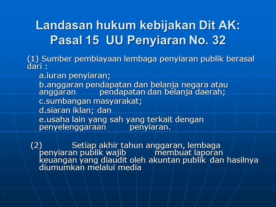 Landasan hukum kebijakan Dit AK: Pasal 15 UU Penyiaran No. 32