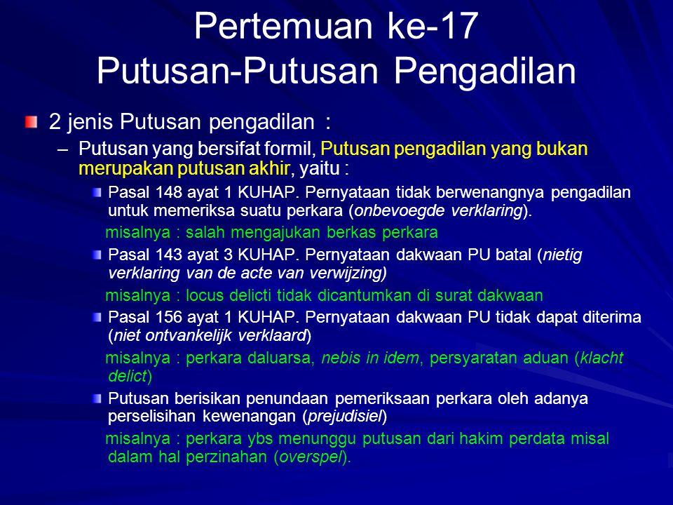 Pertemuan ke-17 Putusan-Putusan Pengadilan