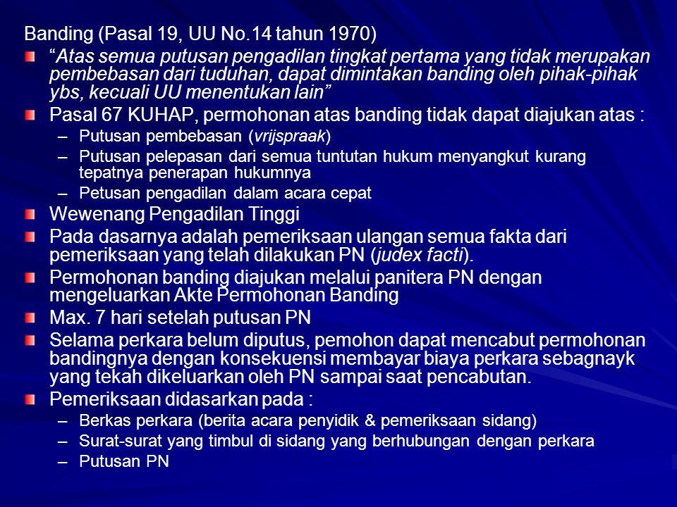 Banding (Pasal 19, UU No.14 tahun 1970)