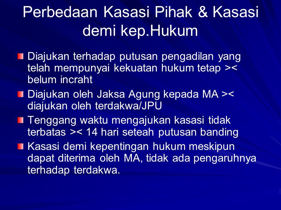 Perbedaan Kasasi Pihak & Kasasi demi kep.Hukum