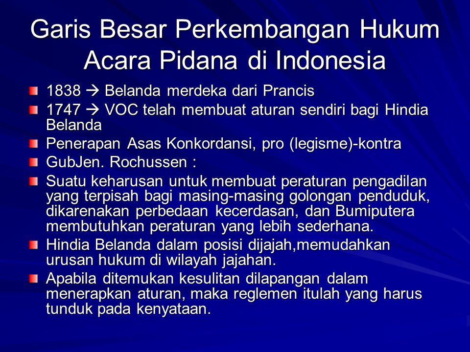 Garis Besar Perkembangan Hukum Acara Pidana di Indonesia