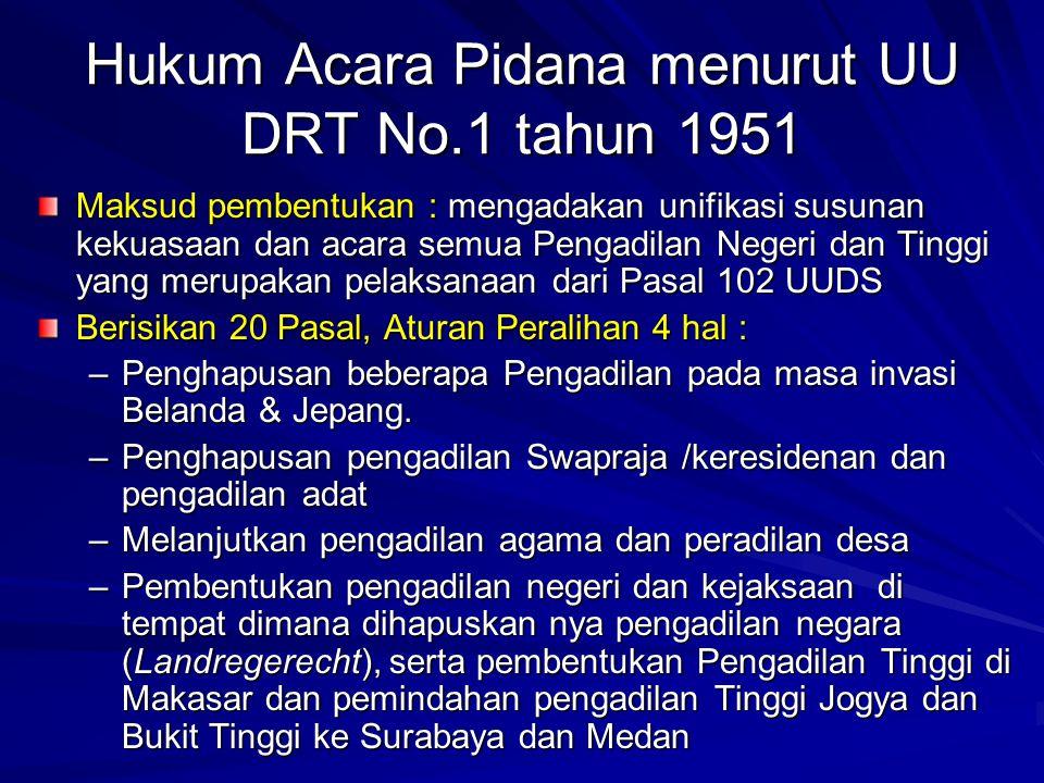 Hukum Acara Pidana menurut UU DRT No.1 tahun 1951