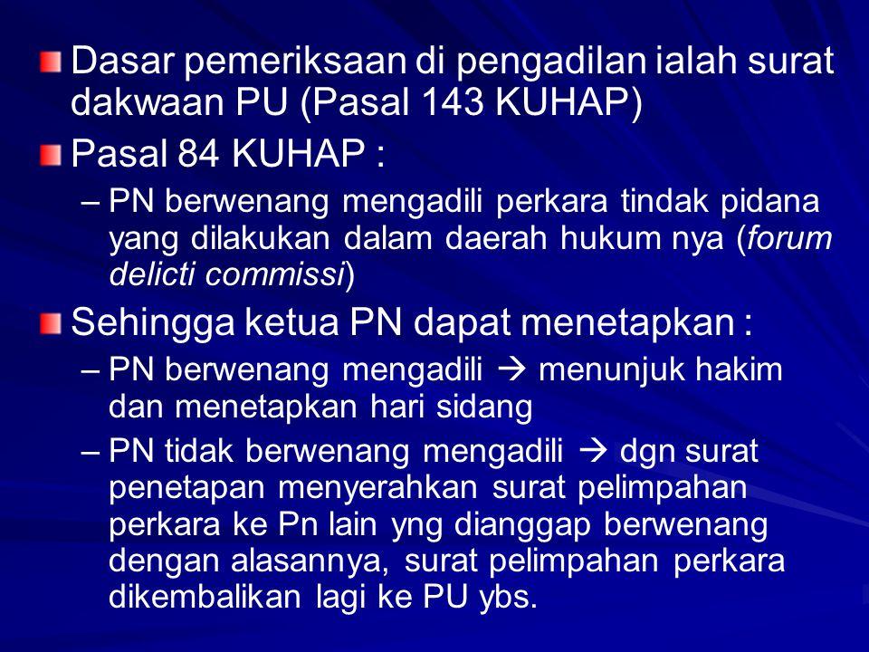 Sehingga ketua PN dapat menetapkan :