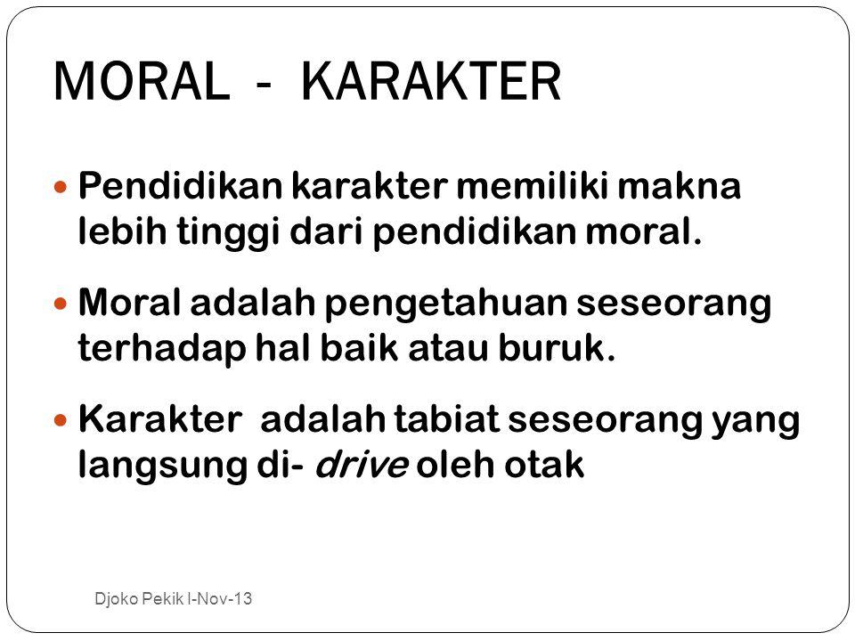 MORAL - KARAKTER Pendidikan karakter memiliki makna lebih tinggi dari pendidikan moral.