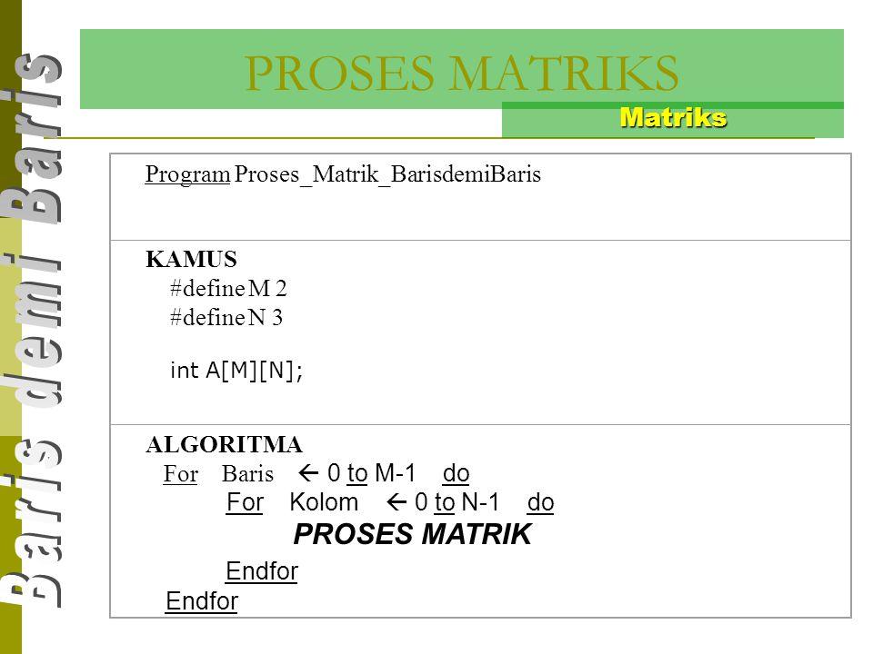 PROSES MATRIKS Endfor Matriks Program Proses_Matrik_BarisdemiBaris