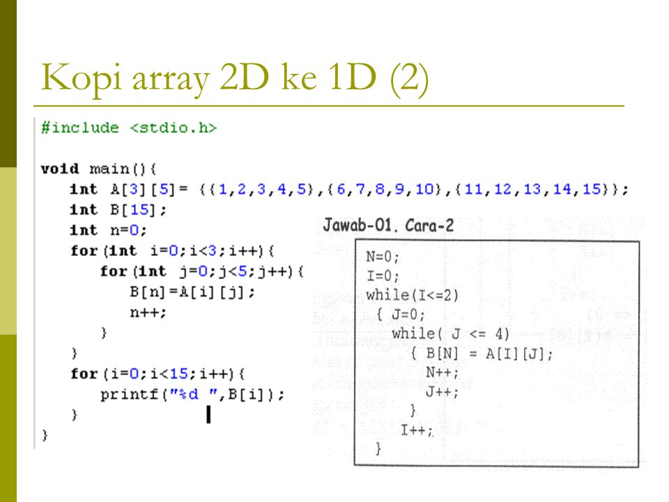Kopi array 2D ke 1D (2)