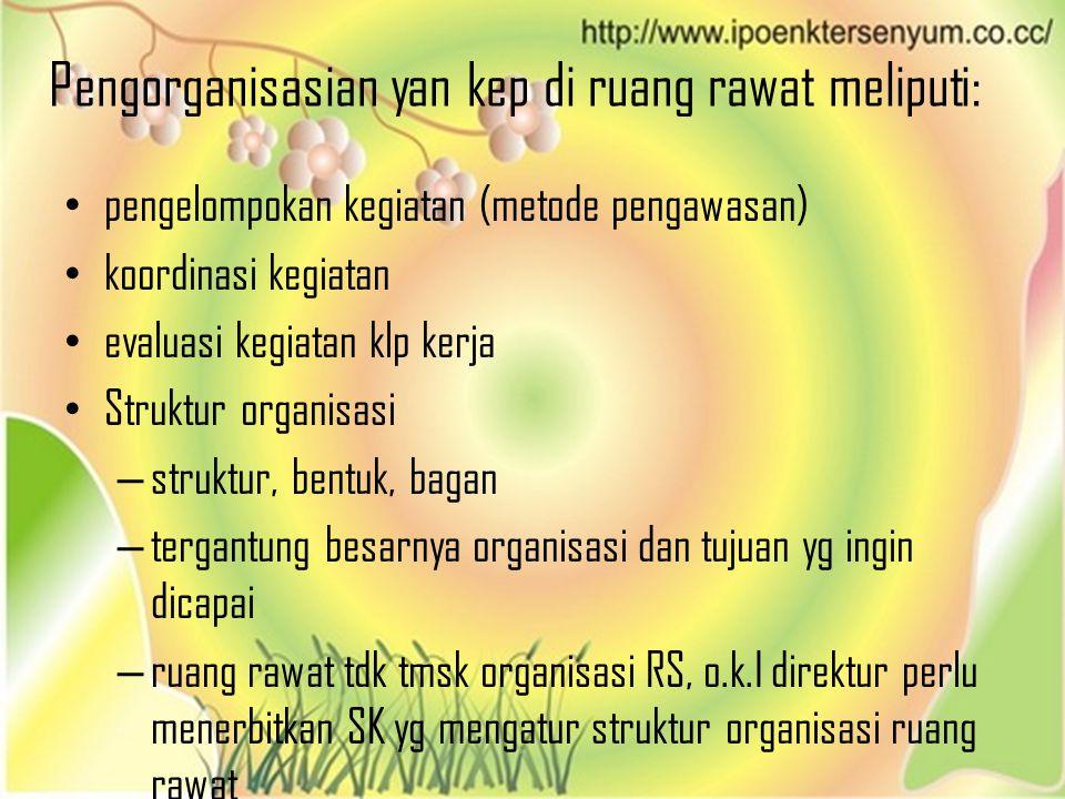 Pengorganisasian yan kep di ruang rawat meliputi:
